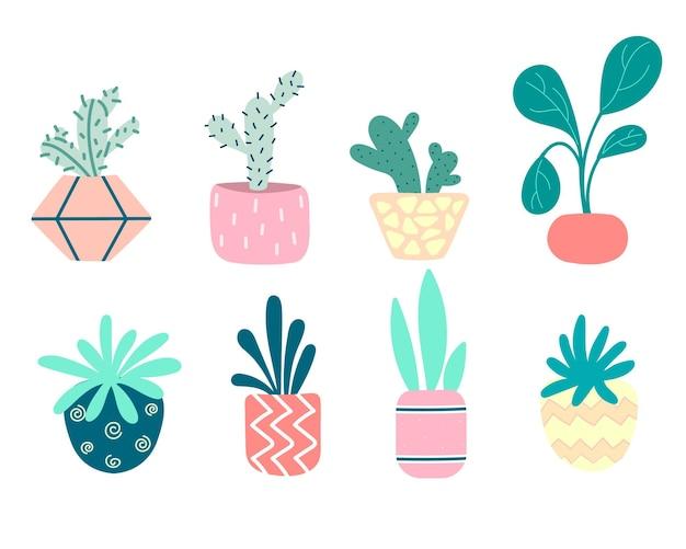 Collection de plantes d'intérieur en pots. cactus, plantes à caoutchouc, roses, bonsaï. ensemble de fleurs décoratives. pots de fleurs colorés isolés sur blanc. illustration plate