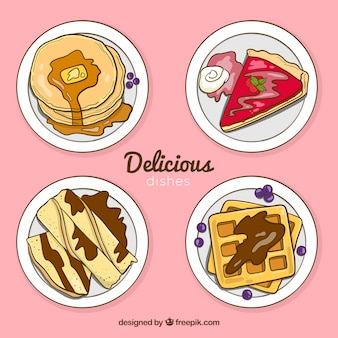 Collection de plat alimentaire vue de dessus