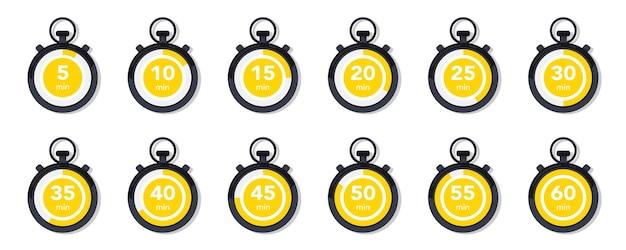 Collection plate avec chronomètre. jeu d'icônes de minuterie. icônes vectorielles de l'horloge. compte à rebours. collection de temps, horloge, montre, minuterie. gestion du temps. horloge de sport, élément de design vectoriel