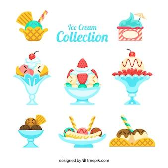 Collection plate de desserts délicieux avec de la glace
