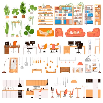 Collection plate de meubles de design d'intérieur. meubles tendance design -table chaise canapé lampe miroir plantes, détails de meubles de la zone de bureau à domicile, armoire, éléments de cuisine