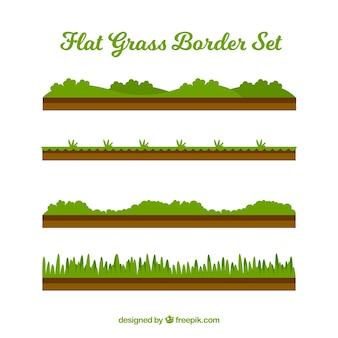Collection plate de quatre frontières d'herbe décoratifs