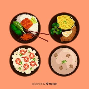 Collection de plats cuisinés à la main
