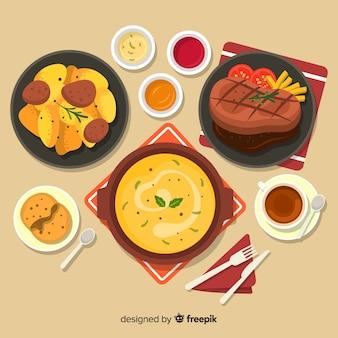 Collection de plats de déjeuner