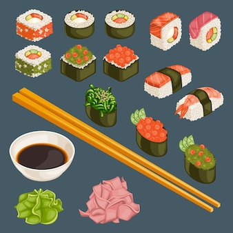 Collection de plats japonais
