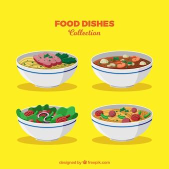 Collection de plats de nourriture dans le style 2d