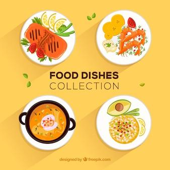 Collection de plats de nourriture avec un design plat