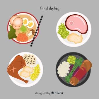 Collection de plats de nourriture dessinés à la main