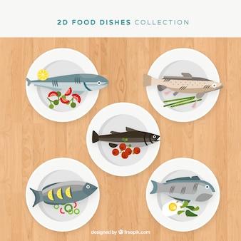 Collection de plats de nourriture avec vue de dessus