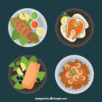 Collection de plats de nourriture en vue de dessus