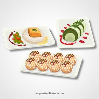 Collection de plats avec de la nourriture