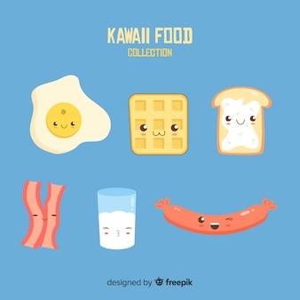 Collection de plats de petit déjeuner kawaii dessinés à la main