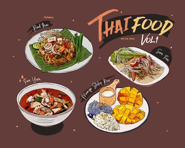 Collection de plats thaïlandais, croquis de tirage à la main.
