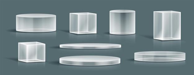 - collection de podiums en verre réaliste