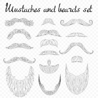 Collection de poils, moustaches, barbes