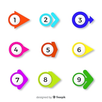 Collection de point de flèche colorée