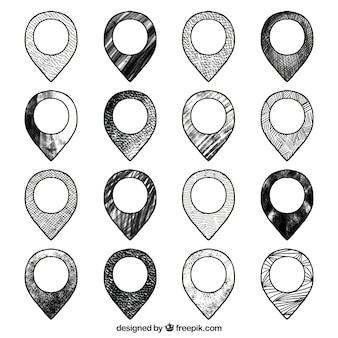Collection de pointeurs en noir et blanc