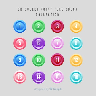 Collection de points de balle colorée 3d
