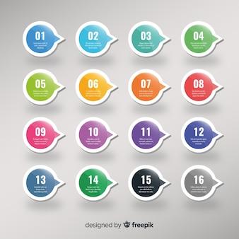 Collection de points de balle colorée 3d