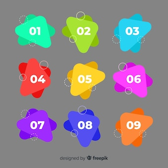 Collection de points de balle colorée abstraite
