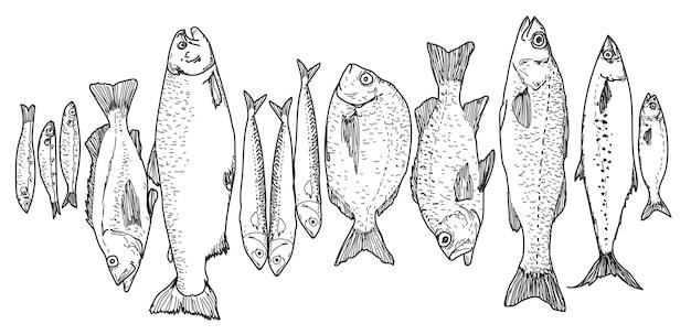 Collection de poissons dessinés à la main en noir et blanc