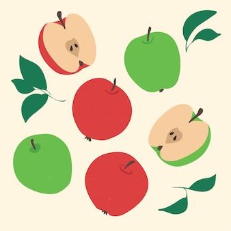 Collection de pommes fraîches. fruits rouges et verts.