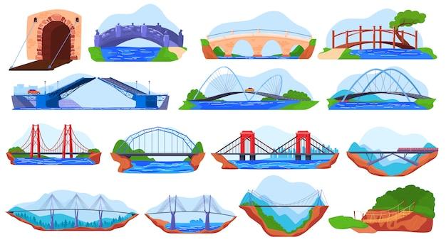 Collection de ponts, ensemble d'autocollants différents sur blanc, illustration