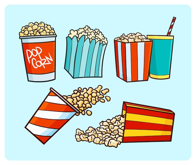Collection de pop-corn drôle dans un style simple doodle