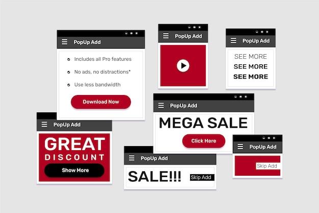Collection de pop-up web design plat