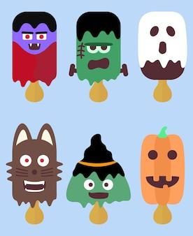 Collection de popsicle élément halloween conception graphique d'illustration de nourriture de dessin animé