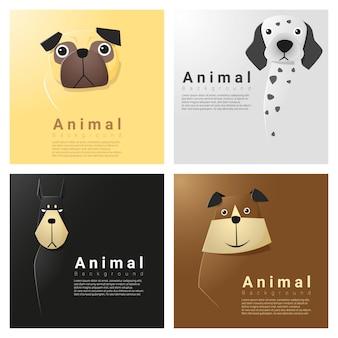 Collection de portraits d'animaux avec des chiens