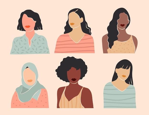 Collection de portraits de femmes abstraites dessinés à la main