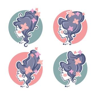 Collection de portraits de femmes baroques, coiffure historique avec décoration papillon pour votre logo