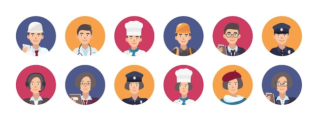 Collection de portraits de personnes souriantes de diverses professions. ensemble de personnages de dessins animés masculins et féminins mignons d'occupation différente à l'intérieur de cadres ronds. illustration vectorielle plat coloré.