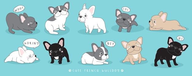 Collection de poses de bouledogue français mignon doodle