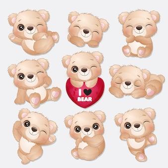 Collection de poses mignon petit ours