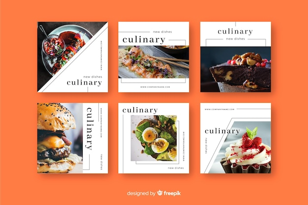 Collection de post culinaire instagram avec image