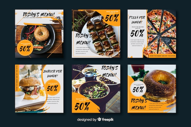 Collection de post culinaire avec photo instagram