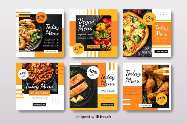 Collection de post culinaire avec photo instagram