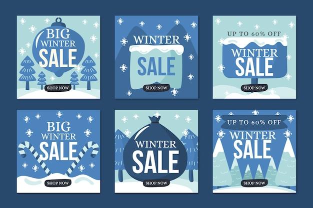 Collection de post instagram aux soldes d'hiver dans des tons de neige bleus
