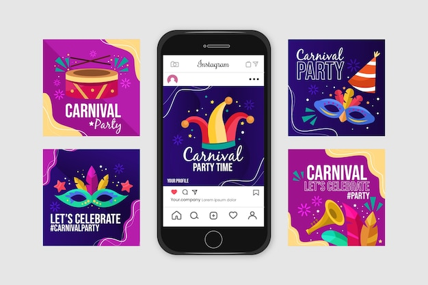 Collection de post instagram carnival party