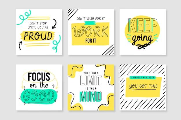 Collection de post instagram citations inspirantes dessinées à la main