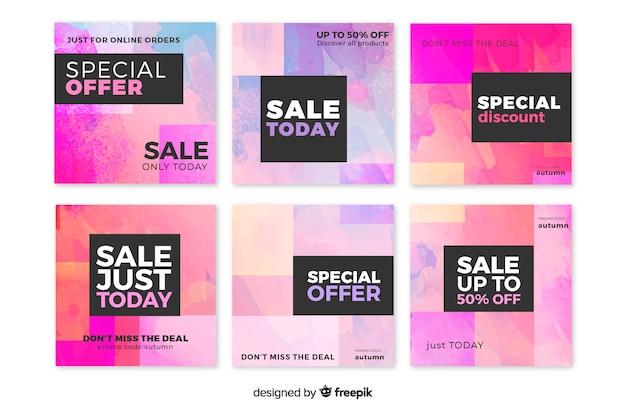 Collection de post instagram coloré vente abstraite