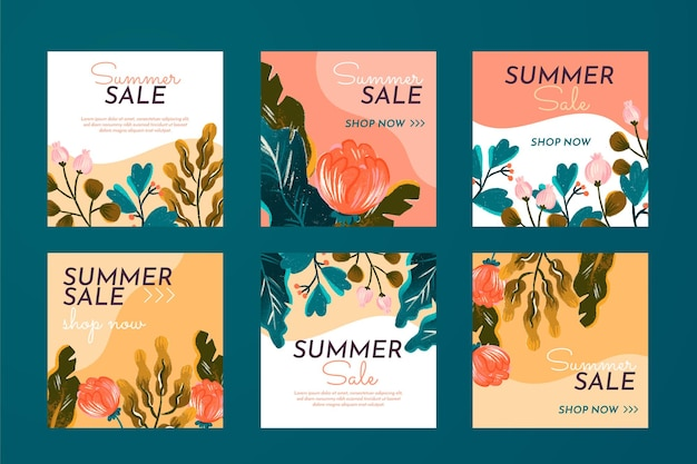Collection De Post Instagram D'été Avec Des Fleurs Dessinées à La Main Vecteur gratuit