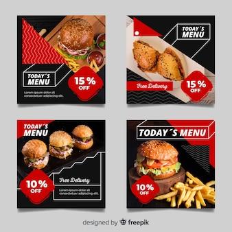 Collection de post instagram avec photo de délicieux burgers
