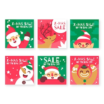 Collection de post instagram poste de vente colorée de noël