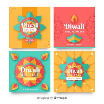 Collection de post instagram de vacances diwali
