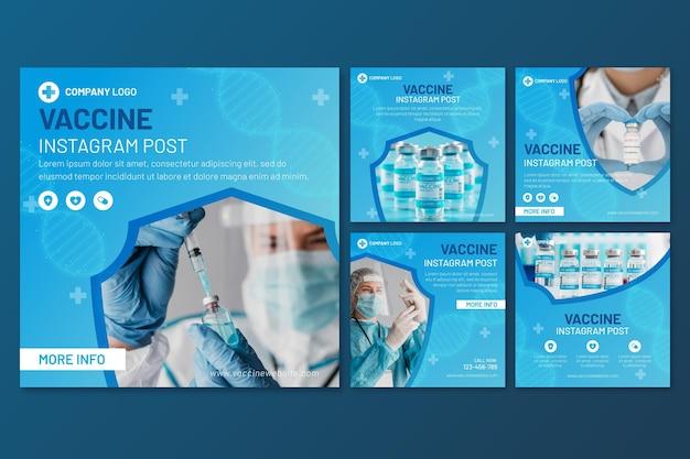 Collection de post instagram de vaccin dégradé avec photos