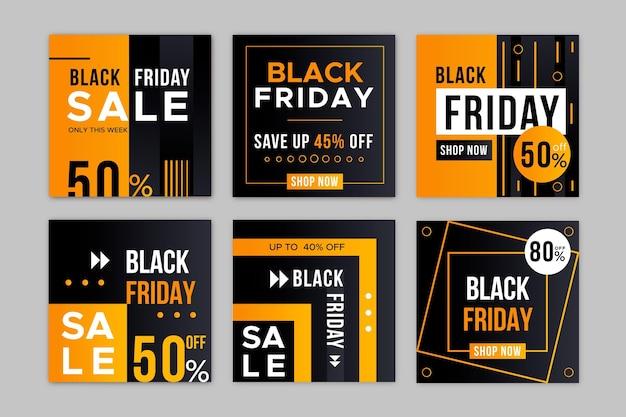 Collection de post instagram de vendredi noir dégradé