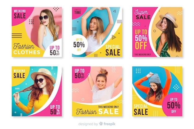 Collection de post instagram avec vente abstraite colorée avec photo